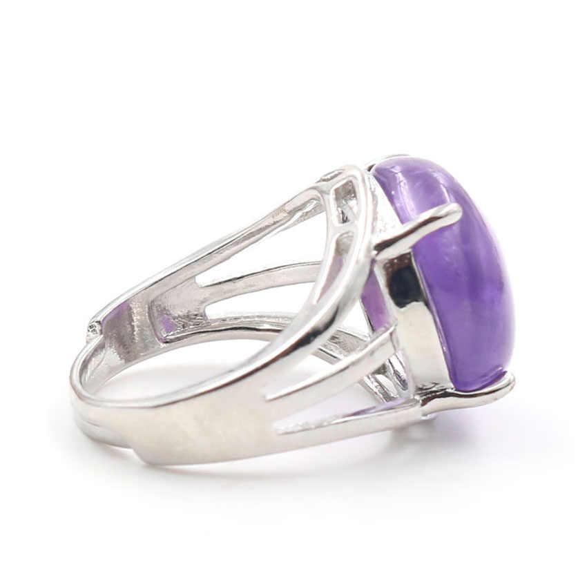 YJXP покрытый серебром натуральный камень аметист ручной работы круглые Регулируемые кольца Шарм ювелирные изделия