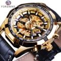 Мужские автоматические механические часы Forsining  часы золотого цвета с кожаным ремешком