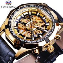 Forsining Brand Watch Men Skeleton Automatic Mechanical Watches Golden Skeleton Leather Wristwatch Top Brand Luxury Montre Homme все цены