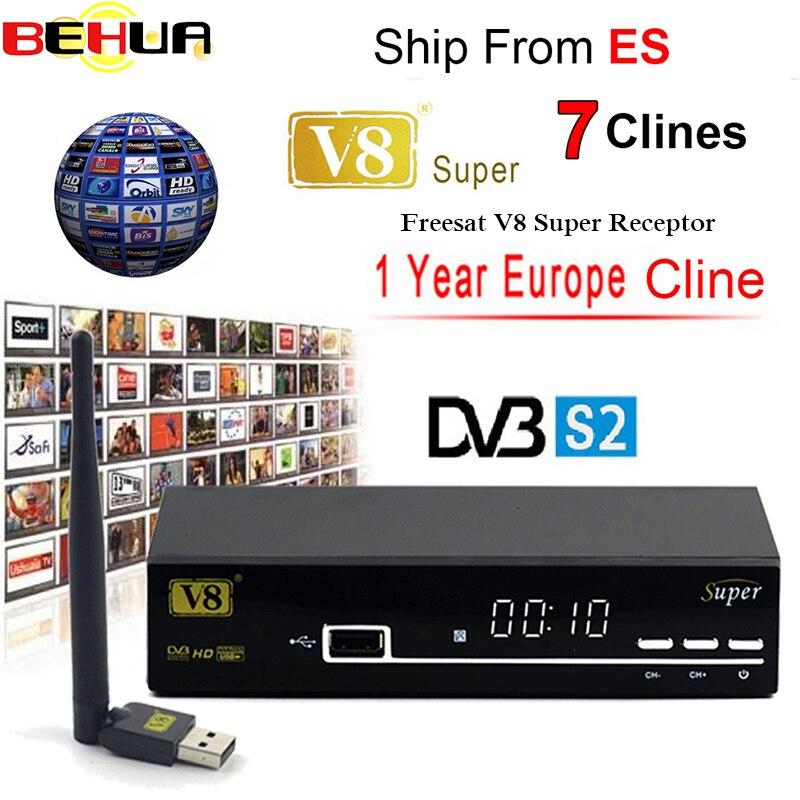 FREESAT V8 SUPER Récepteur DVB-S2 HD FTA Satellite TV Récepteur Avec 1 Année Europe 7 Clines + USB WIFI 1080 p lnb Portugal Polonais TV