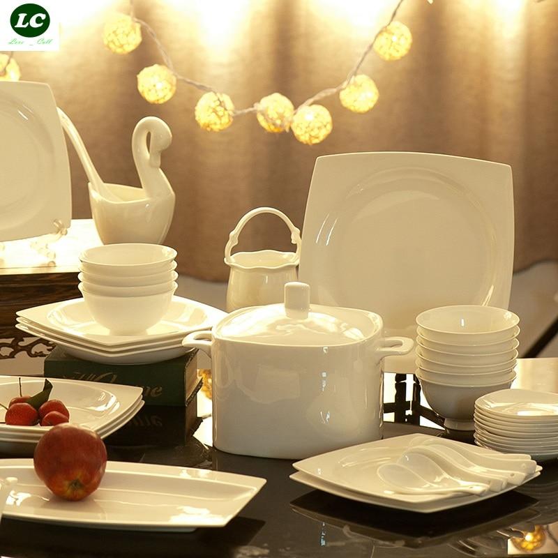 Free shipping dinnerware set ceramic bone china 58pcs luxury jingdezhen table - Vaisselle de luxe marque ...