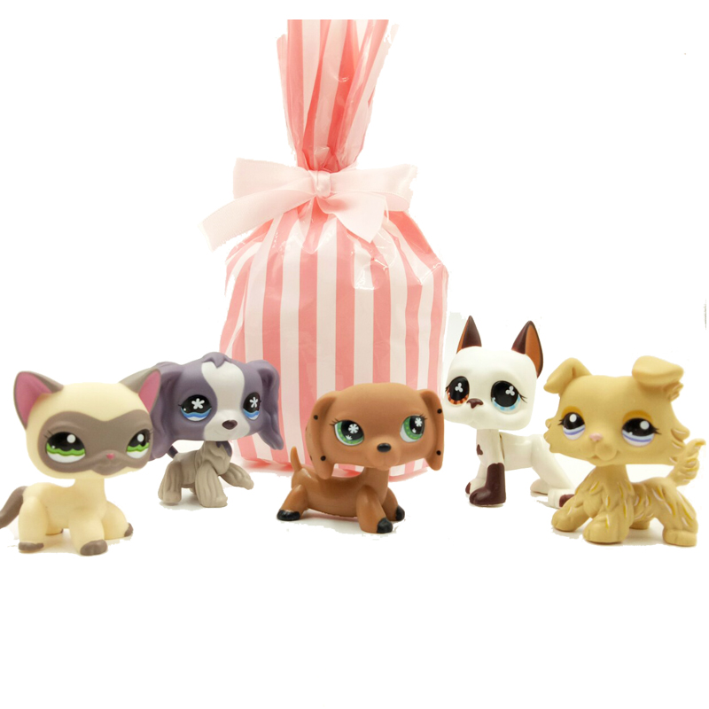 5 Pcs/bag Rare pet shop lps toys cat standing #1116 little dog dachshund collie spaniel great dane old real figure with gift bag