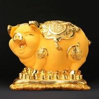 Большая Смола золотая свинья фигурки, миниатюры статуи копилки в виде свиньи наличные коробка для монет подарки на день рождения домашние д