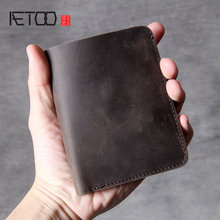 AETOO Simple classic Short wallet handmade head layer cowhide mad horse Leather Vintage Wallet