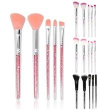 Makeup Brushes Set 5pcs Cosmetic Shiny Crystal  Glitter Acrylic Handle Nylon Hair Brush kit Eyeshadow