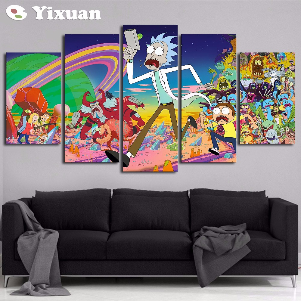 5 Panels Canvas Painting Rick And Morty Poster Wall Art