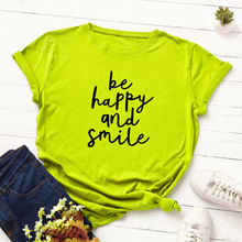 Spring and summer new style Fashion letter printed slim short-sleeved T-shirt Cotton round neck top