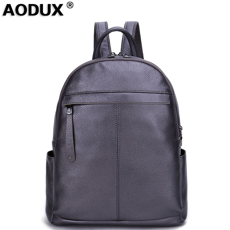 Aodux 2018 High Quality 100 Genuine Cow Leather Female Backpack First Layer Cowhide Women Preppy Style