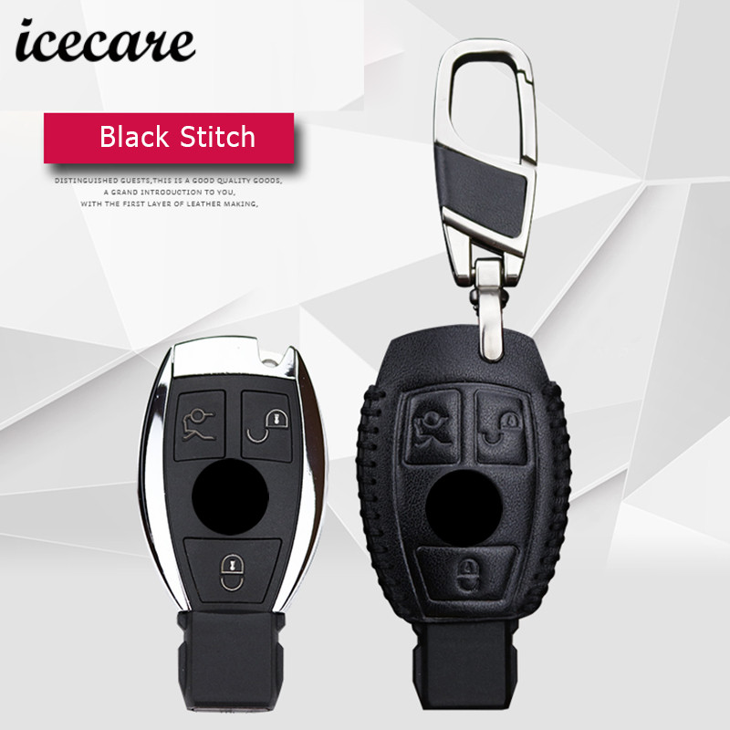 Icecare Key Case For Mercedes Benz Accessories W124 W203 W210 W211 Smart 2 3 Button Genuine Leather Key Cover For Benz W124 car seat cover automobiles accessories for benz mercedes c180 c200 gl x164 ml w164 ml320 w163 w110 w114 w115 w124 t124