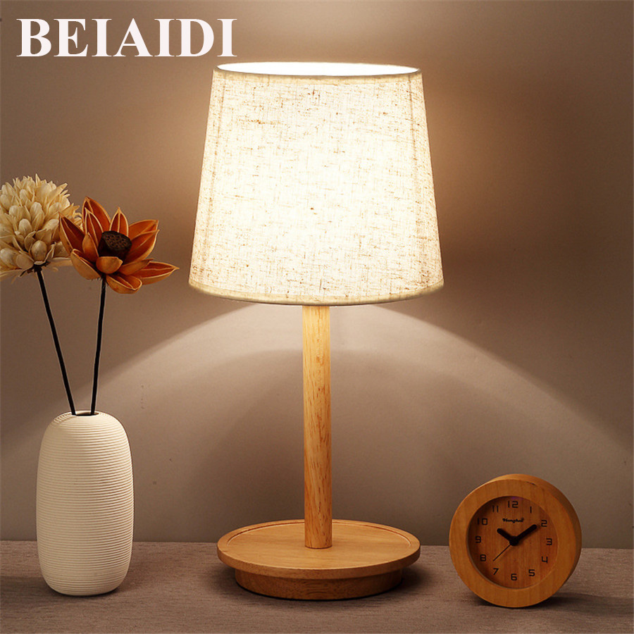 BEIAIDI E27 Nordic Brief Wooden Table Lamp Bedroom Bedside Table Lamp With Linen lampshade Indoor Study Reading Lighting FixtureBEIAIDI E27 Nordic Brief Wooden Table Lamp Bedroom Bedside Table Lamp With Linen lampshade Indoor Study Reading Lighting Fixture