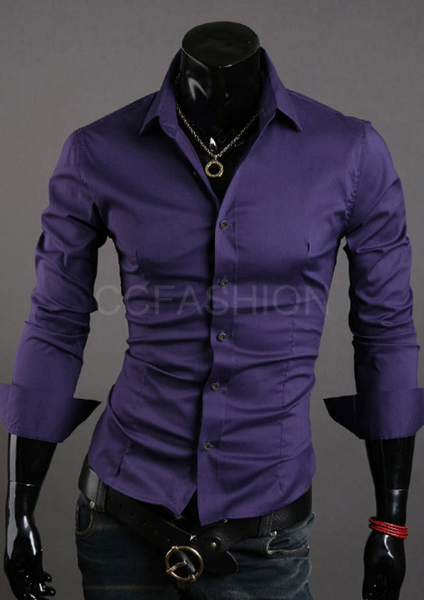 Patched mens formal shirts , luxury purple shirts casual wear ...