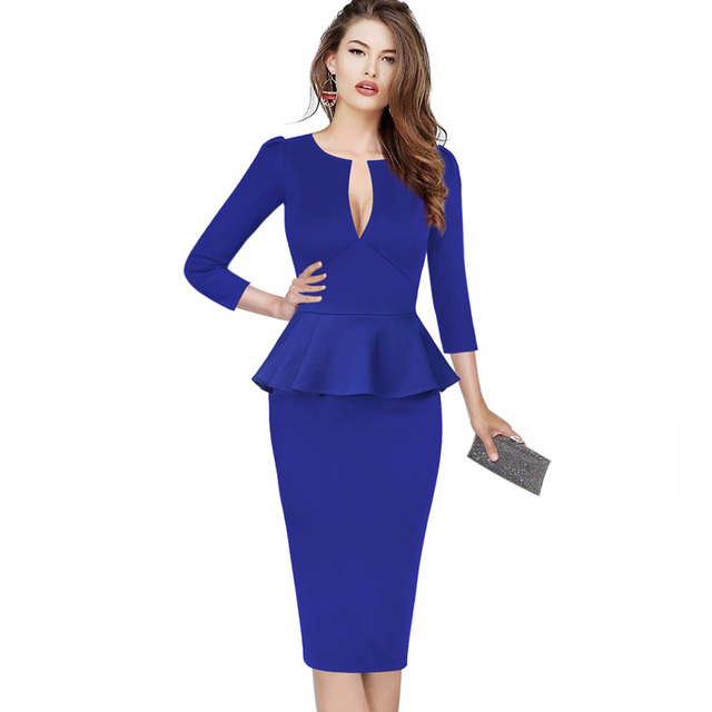Vfemage Womens Sexy Elegant Autumn Peplum Vintage Tunic Slim Casual Party Fitted Sheath Pencil Bodycon Dress 1039