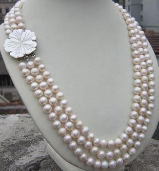 3 ROW 9-10MM natural Akoya south sea white Pearl Necklace 18-20'' clasp