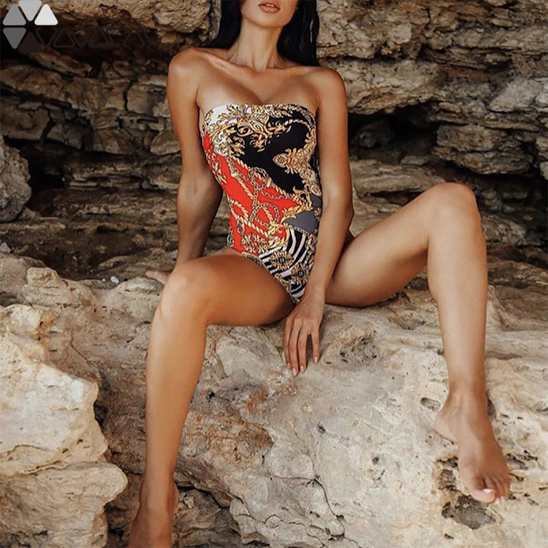 Vintage Sexy New Women Swimming One Piece Bikini Tube Top Push Up Printing Triangle Contrast Color Swim Bikinies Fishing Clothes in Body Suits from Sports Entertainment