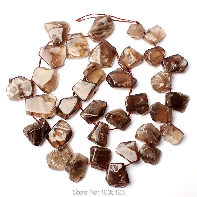 Free Shipping 15-20mm Natural Smoky Quartzs Flat Freeform Shape Gem Loose Beads Strand 15 DIY Creative Jewellery Making w2738