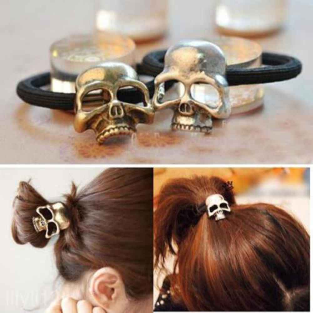 1pc Women Punk Gothic Skull High Elastic Hair Rope Halloween Headdress Hair Bands Ponytail holder Hair Ties Ornament Accessories