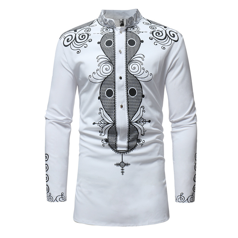 African Tribal Dashiki Longline Shirt 2018 Brand New Long Sleeve Mandarin Collar Dress Shirt Men African Clothing Camisa Hombre
