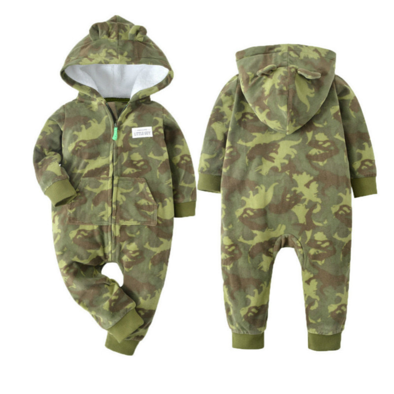 Baby boys romper spring/autumn warm Clothes Long Sleeve hooded baby overall 12-24 Months ropa new born baby thick clothing