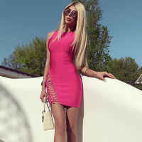 2017 Summer Bandage Dress Women Sleeveless O Neck Cerebrity Party Sexy Bodycon Night Out Dress Women