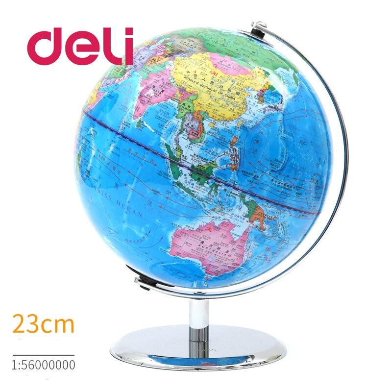 Deli стереоскопический 3d мир земля Глобус светодиодный светильник карта география образовательная металлическая подставка для дома идеальные миниатюры подарок Офисные гаджеты - 2