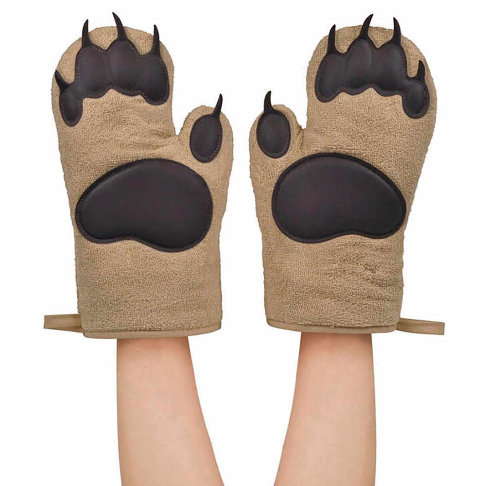 Bonito gato patas bonito simples conveniente isolado luvas 2 pçs cozinha cozinhar churrasco engrossar patas urso luvas de forno