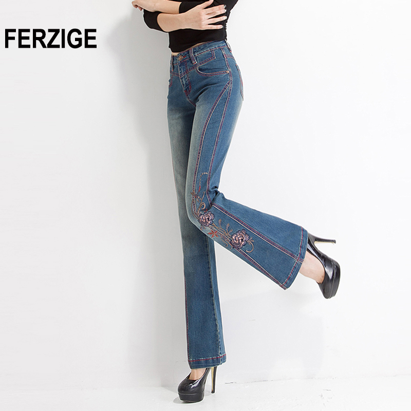 FERZIGE Jeans For Women High Waist Floral Embroidery Bell Bottoms Flare Pants Retro Blue Girls Sexy Ladies Push Up Jeans Mujer