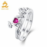 Engagement Ring Romantic Forever Love Heart Red CZ Pure 925 Silver White Gold Plated Ladies Women