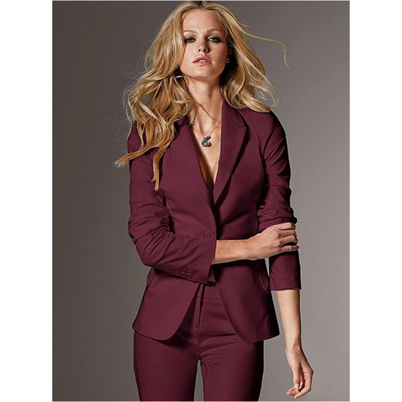 Women Evening Pant Suits Women High Quality Custom Made Wine Slim Suit Office Ladies Work Wear ...