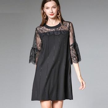 f1855e178 2019 vestido de verano de las señoras de moda elegante recto vestido flare  manga de encaje de vestido vestidos plus tamaño tunics4XL