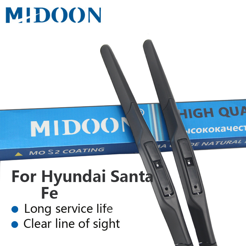 MIDOON Híbrido Wiper Blades para Hyundai Santa Fe Fit Gancho Braços Modelo Ano de 2000 a 2017