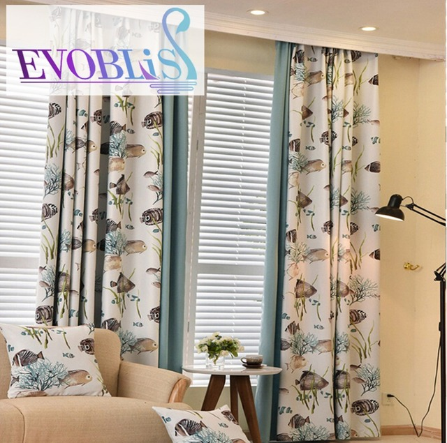 2018 new modern fish curtains for living room blackout curtains for