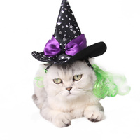 Pet Witch Wizard Hat Star Print Costumes With Wig Bow Tie For Small Dog Cat Halloween