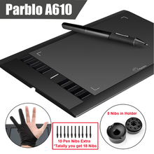 Parblo A610 (+10 Extra Nibs) Digital Graphics Drawing Tablet 2048 Level Pen + Anti-fouling Glove (Gift)