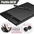 Parblo A610 (+ 10 Puntas Adicionales) Tableta de Dibujo de Gráficos 2048 Nivel Digital Pen + Anti-fouling Guante (regalo)