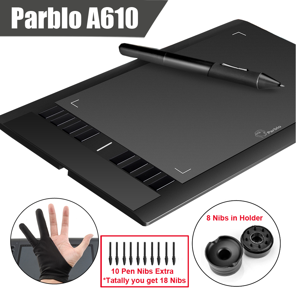 Prix pour Parblo A610 (+ 10 Supplémentaire Plumes) Numérique Graphique Dessin Tablet 2048 Niveau Stylo + Anti-fouling Gant (cadeau)