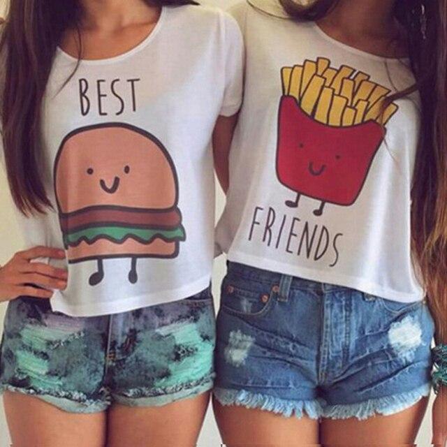 Moda tshirt mulheres plus size carta Colheita curta Top casual o pescoço melhores amigos Fritas impresso t shirt engraçado algodão camisa branca de t