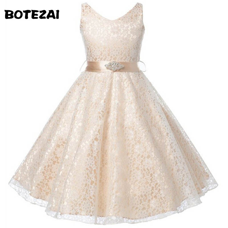 Girl Dress Kids Wedding Bridesmaid Children Girls Dresses Summer 2016 Evening Party Princess Costume Lace Teenage Girls Clothes