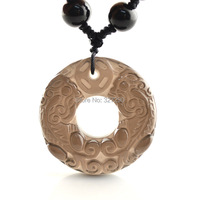 Natural Ice Kind Of Obsidian With Pixiu Carved Pendants Necklaces Donut Shape Energy Wealth Jewelry For