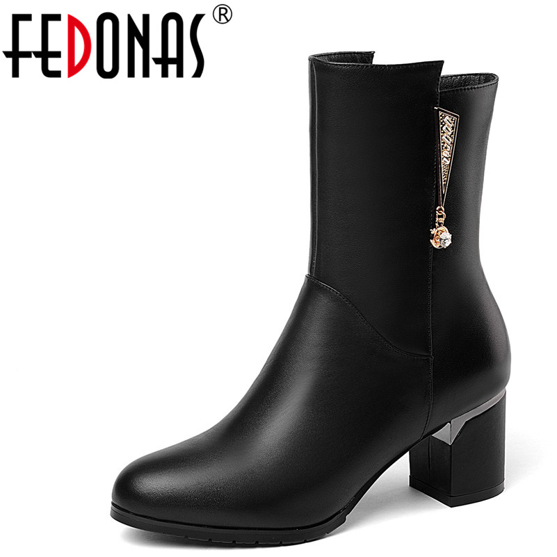 FEDONAS Fashion Women Mid-Calf Boots Genuine Leather Autumn Winter Warm High Heels Shoes Rhinestone Party Shoes Woman High Boots