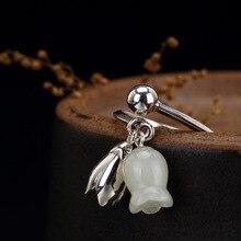 925 пробы серебряные нефритовые кольца с гравировкой Flores Convallariae простые винтажные натуральные кольца с драгоценными камнями для женщин
