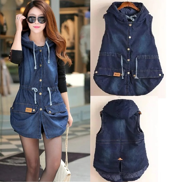2016Colete Feminino Fashion Women Denim Vest Coat Autumn Winter Warm sleeveless jeans Hooded Long Vest wadded coat Outerwear 4XL