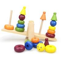Holz Clown Regenbogen Stacker Wippe Waagschale Bord Balancing Spiel für Kinder Frühe Entwicklung Spielzeug
