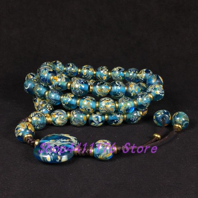 Antique haut-ancien Reflux vieux verre multicolore peinture pendaison bouddhiste perles bijoux saphir et phénix perles cordes