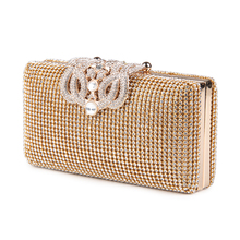 Women Evening Bags Rhinestones Metal Crown Handbags Full Of Diamonds Day Clutches Purse