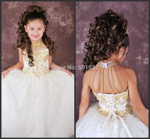 54d610f5982c Applique White Flower Girl Dresses High Neck Sleeveless Backless ...