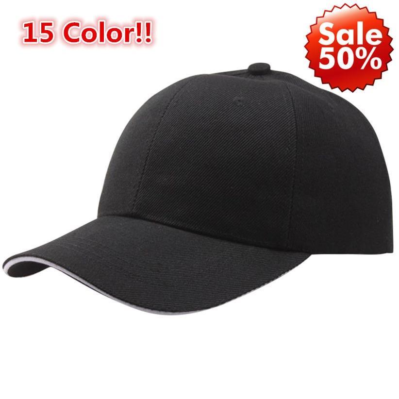 15 Color!! Summer Fashion Soild Women Men   Baseball     Cap   Snapback Hat HipHop Adjustable Cool Sunhat casquette gorras Lowest Price