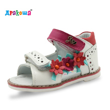 Apakowa Printemps D'été Véritable Génie En Cuir Filles Sandales Enfants Chaussures Enfants Sandales pour Filles Princesse Cut-outs de Plat chaussures