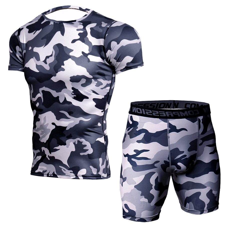 Summer Sport Suit Men Sportswear Sleeve Sleeve Tshirt Sport Fitness Suit Dry Fit Compression Running Shirt Gym Running Shorts 1