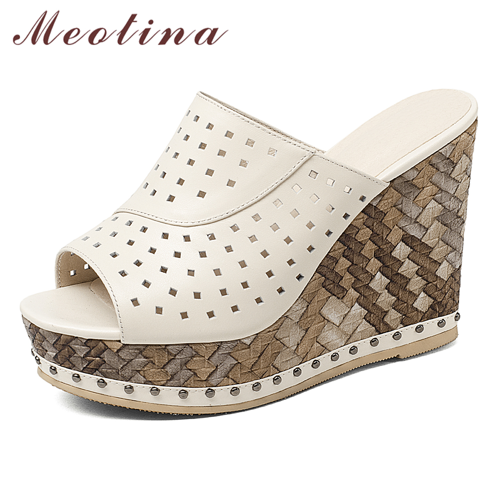 Meotina femmes chaussures d'été sandales en cuir véritable naturel plate forme Wedge talon haut diapositives en cuir de vache découpe Peep Toe pantoufles-in Pantoufles from Chaussures    1