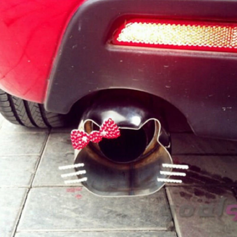 YZ 1pcs Universal Exhaust Tailpipe hello kitty Muffler import Stainless Steel 304 End exhaust pipe protect